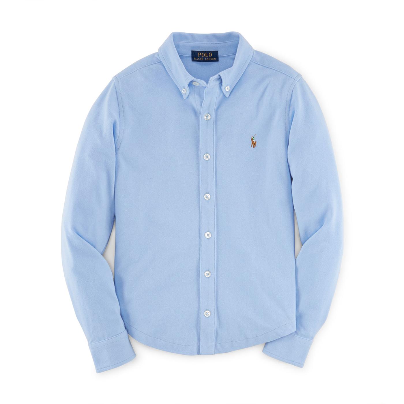 美國百分百【Ralph Lauren】長袖 襯衫 RL 男 素面 針織 網眼 上衣 polo 彩馬 淡藍 女 G295