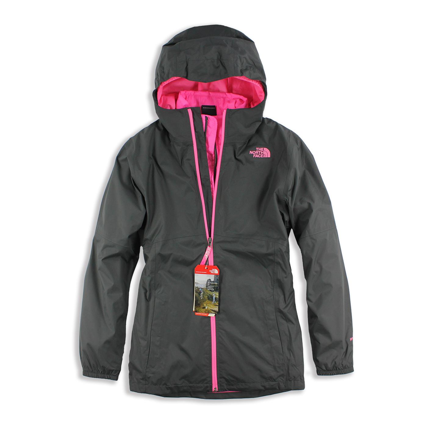 美國百分百【The North Face】防風 連帽 外套 TNF 保暖 夾克 兩件式 北臉 深灰 桃紅 女 XS號 G325