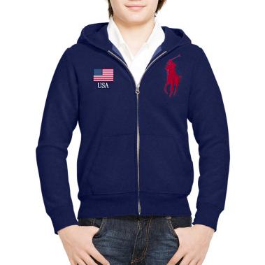 美國百分百【Ralph Lauren】外套 RL polo 連帽 夾克 大馬 國旗 背號 深藍 男 XS S號 G361