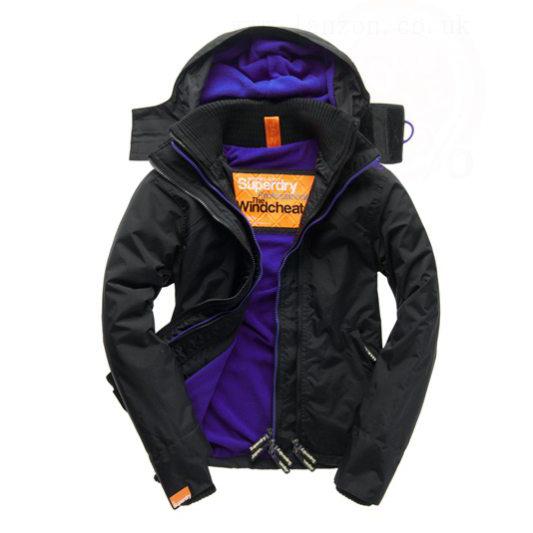 美國百分百【全新真品】Superdry 極度乾燥 風衣 連帽 外套 防風 夾克 刷毛 黑色 深紫 女 F855
