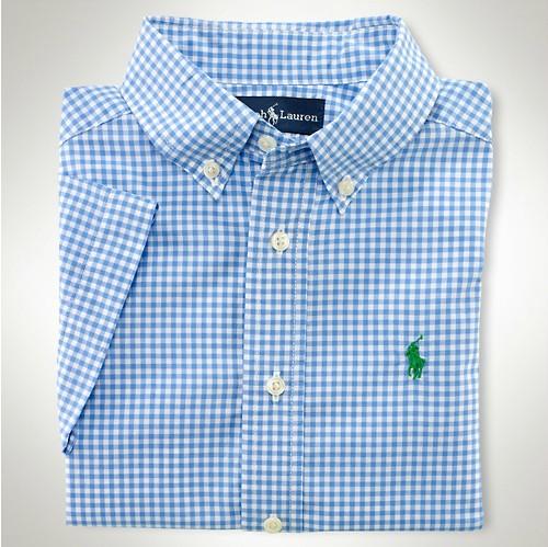美國百分百【全新正品】Ralph Lauren Polo 夏季新款 淺藍 淡藍色 格紋 小馬 短袖 襯衫 男上衣 XS S號 人氣 限時 特價 免運費
