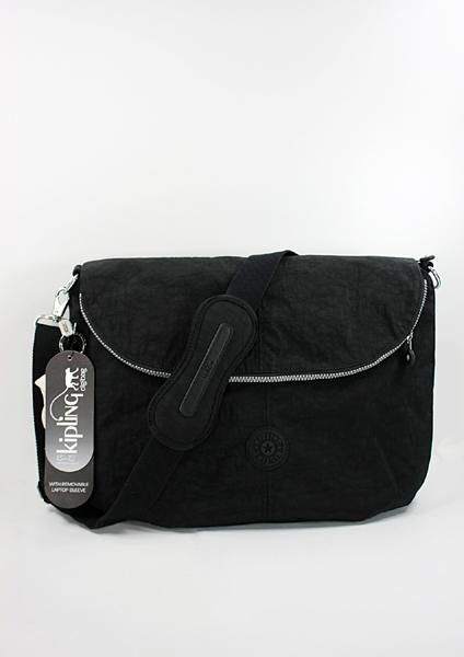美國百分百【全新真品】Kipling 猩猩 黑色 電腦包 斜背包 肩背包 筆電包 附筆電專用套 超取
