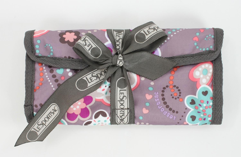 美國百分百【全新真品】Lesportsac 8062 d151 童話花包 化妝包 綁帶鉛筆盒 筆袋 甜美上課 免運