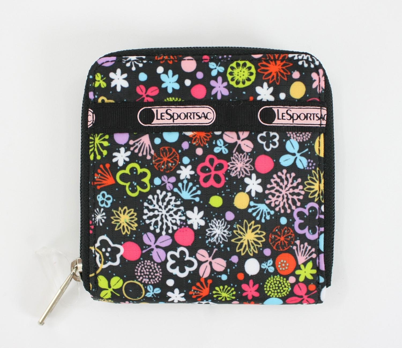 美國百分百【全新真品】Lesportsac 塗鴉印花 短夾皮夾 手拿小包 零錢包 卡夾 超取 驚喜價