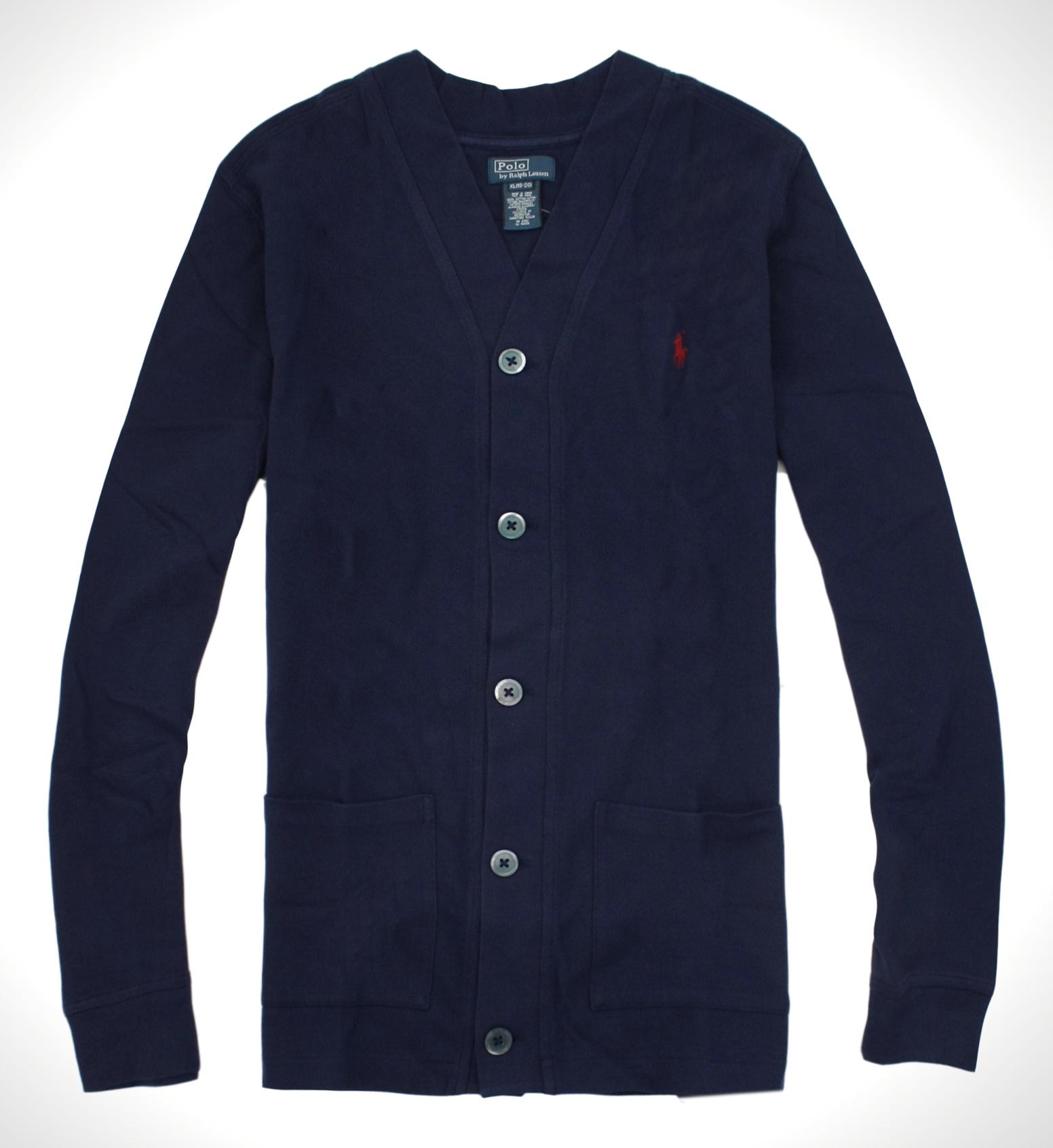 美國百分百【全新真品】Ralph Lauren RL 男 開扣 外套 口袋 針織 罩衫 POLO 深藍 S M L XL XXL