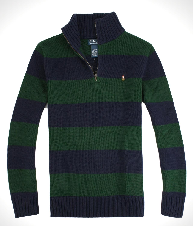 美國百分百【全新真品】Ralph Lauren RL 男女 半拉POLO 毛衣針織衫 彩馬 綠藍條紋 免運 XXS XS