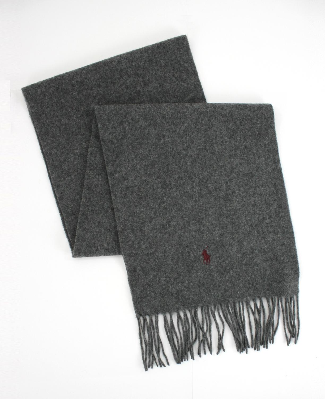 美國百分百【全新真品】Ralph Lauren POLO 圍巾披肩 小馬 喀什米爾羊毛 RL 紅馬 保暖 鐵灰 免運
