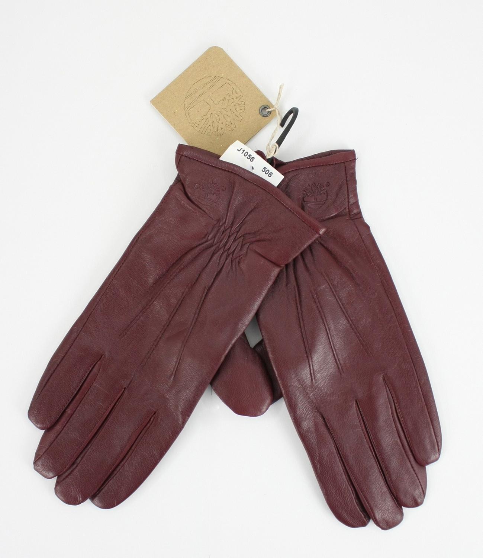 美國百分百【全新真品】Timberland 女 設計款 紫羅蘭 英倫優雅 真皮 保暖手套 束腕 免運M