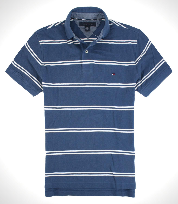 美國百分百【全新真品】Tommy Hilfiger TH男 網眼上衣 復古藍 白條紋 短袖Polo衫 上衣 免運 XS