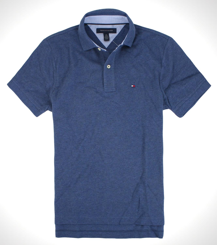 美國百分百【全新真品】Tommy Hilfiger TH男 網眼上衣 復古藍 素面 短袖Polo衫 休閒率性 免運 S