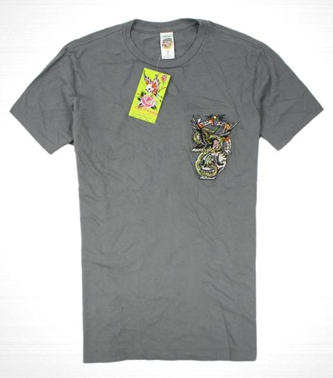 美國百分百【全新真品】ED HARDY 專櫃 男 骷髏 紐約 刺繡 短袖 灰色 Tee 老鷹 T-shirt T恤 S M號