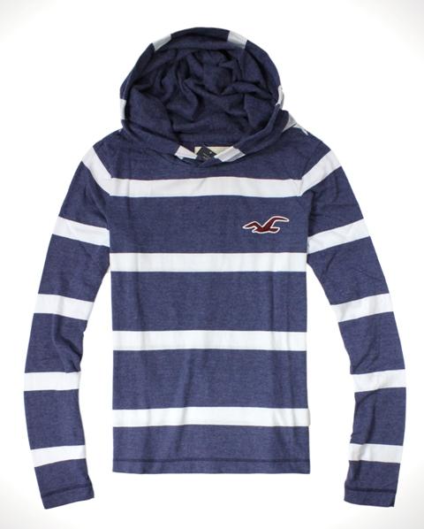 美國百分百【全新真品】Hollister Co. HCO 男 海鷗 帽T 藍白 條紋 連帽 長袖 T恤 套頭衣 S M號