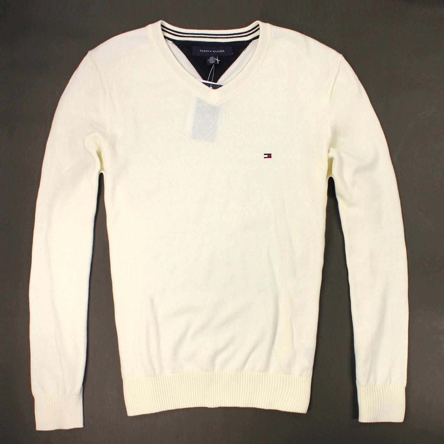 美國百分百【全新真品】Tommy Hilfiger 針織衫 TH 線衫 V領 素面 純棉 毛衣 男衣 白 S M L號 B606