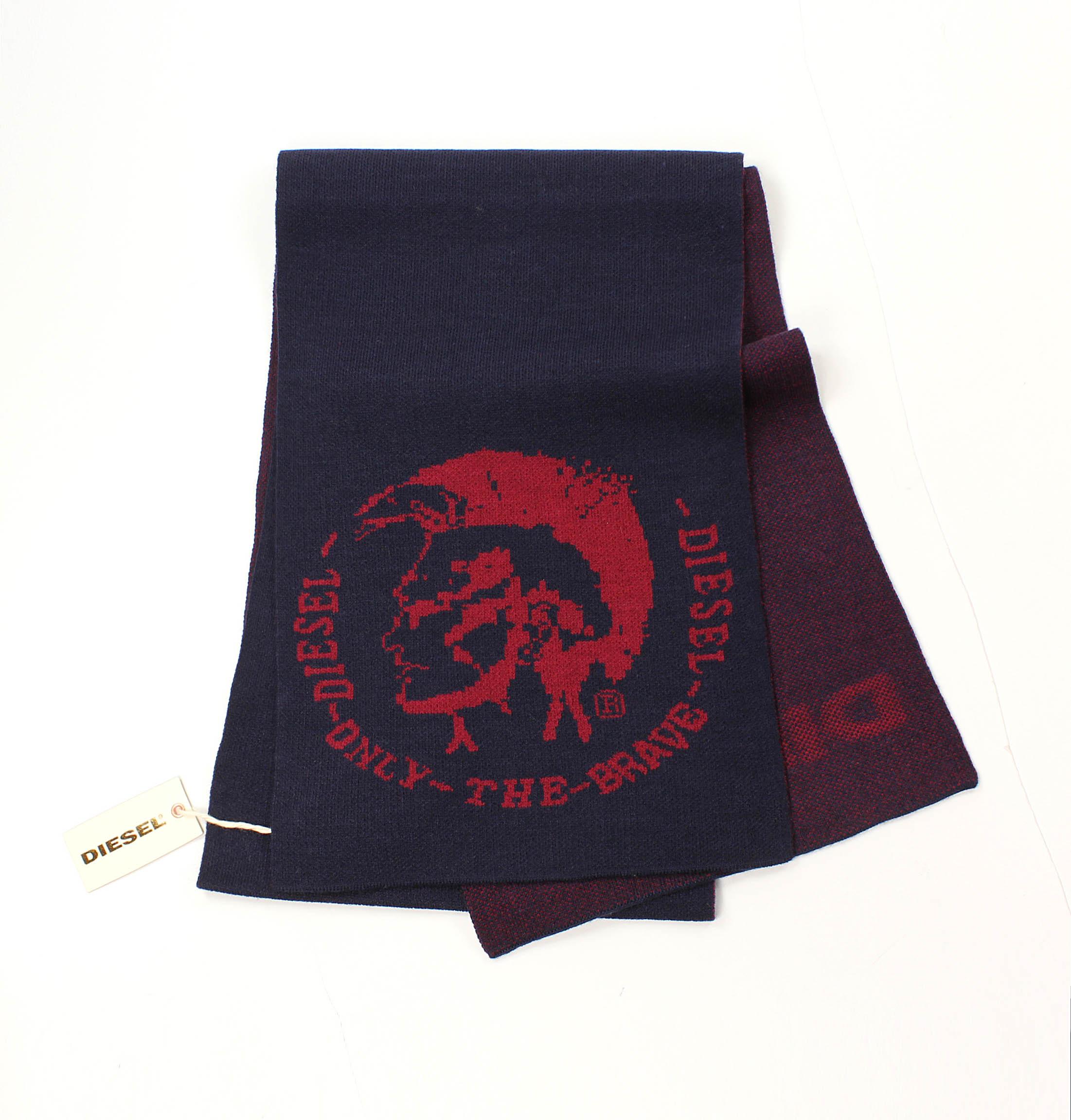 美國百分百【全新真品】Diesel 圍巾 配件 領巾 披肩 針織 雙面 深藍 素面 龐克 logo 文字 男 女 B550