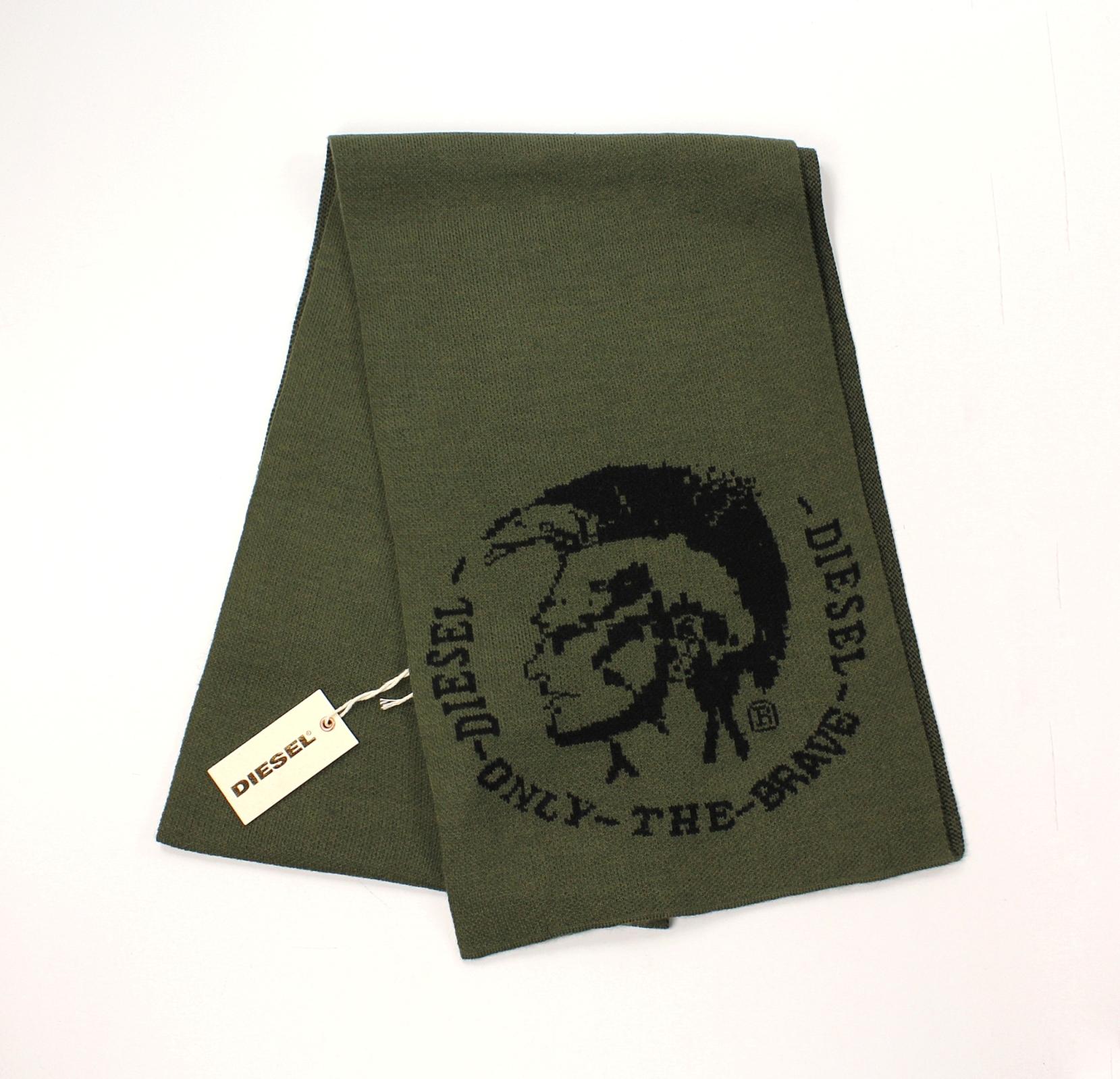 美國百分百【全新真品】Diesel 圍巾 配件 領巾 披肩 針織 雙面 墨綠 素面 logo 文字 男 女 B550