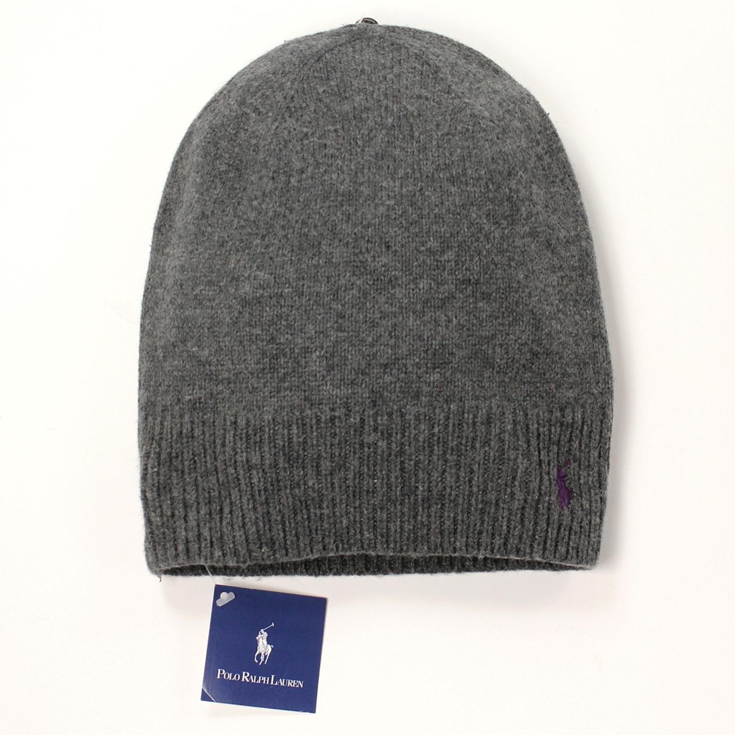 美國百分百【全新真品】Ralph Lauren 帽子 RL 配件 針織 毛帽 Polo 小馬 鐵灰 棉質 羊毛 男 女 B556