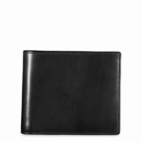 美國百分百【全新真品】Coach 皮夾 74009 短夾 中夾 配件 真皮 黑色 證件 滑面 男夾 女夾 B539