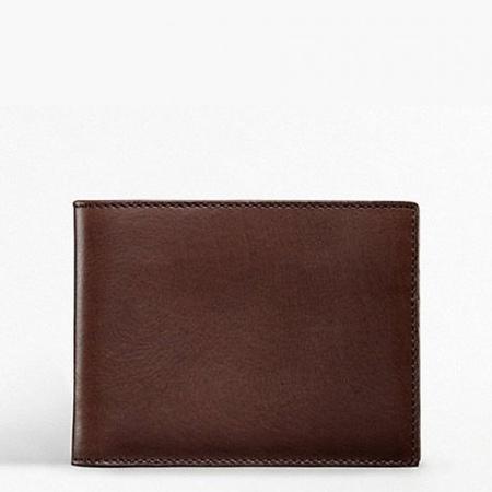 美國百分百【全新真品】Coach 皮夾 74009 短夾 中夾 配件 真皮 深咖啡 證件 滑面 男夾 女夾 B539