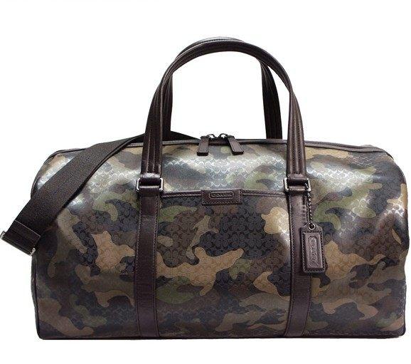 美國百分百【全新真品】COACH 旅行袋 93230 男包 斜背包 手提包 休閒包 PVC  迷彩 免運 B639
