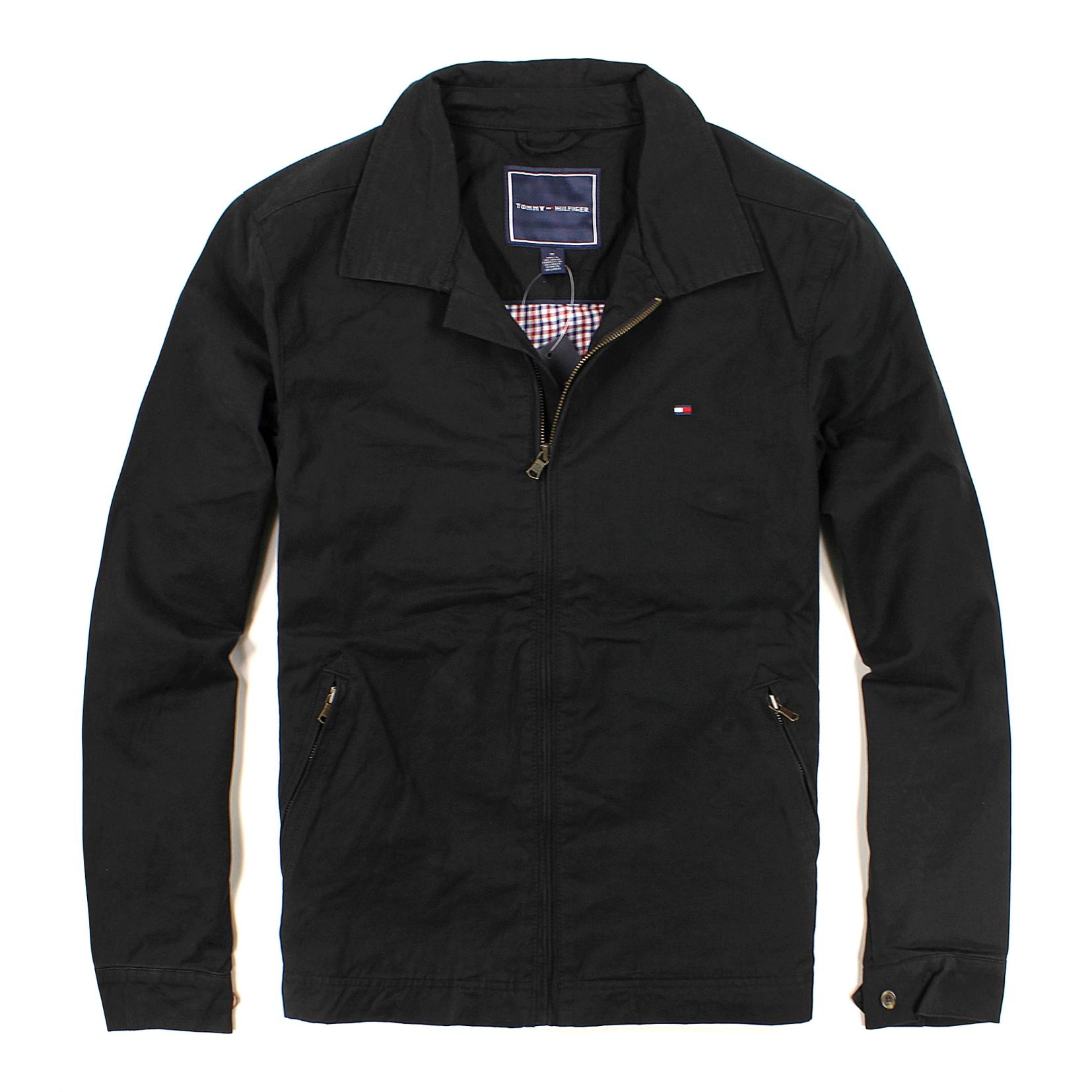 美國百分百【全新真品】Tommy Hilfiger 外套 TH 夾克 立領 黑色 素面 男衣 硬挺 帥氣 經典 B997