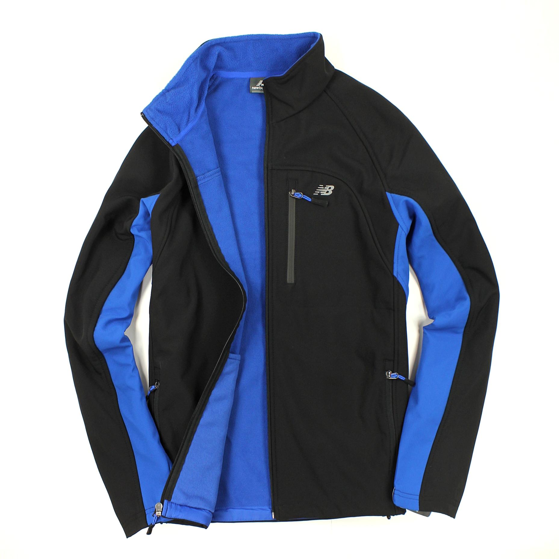 美國百分百【全新真品】New Balance 外套 NB 軟殼 夾克 黑藍 防風 防水 保暖 立領 男 S M B573