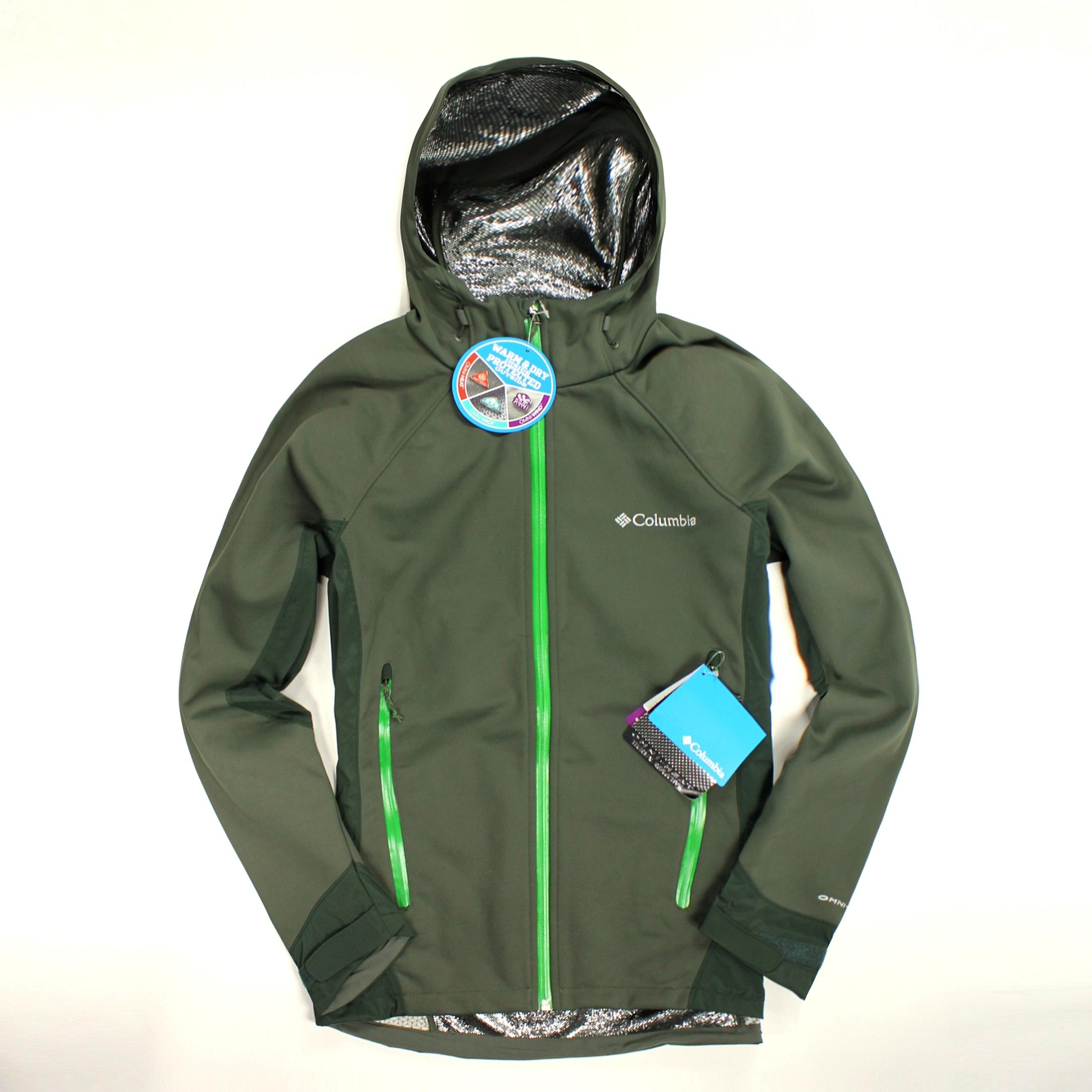 美國百分百【全新真品】Columbia 外套 哥倫比亞 連帽 發熱衣 Omni heat 軟殼 保暖 專利 男 墨綠