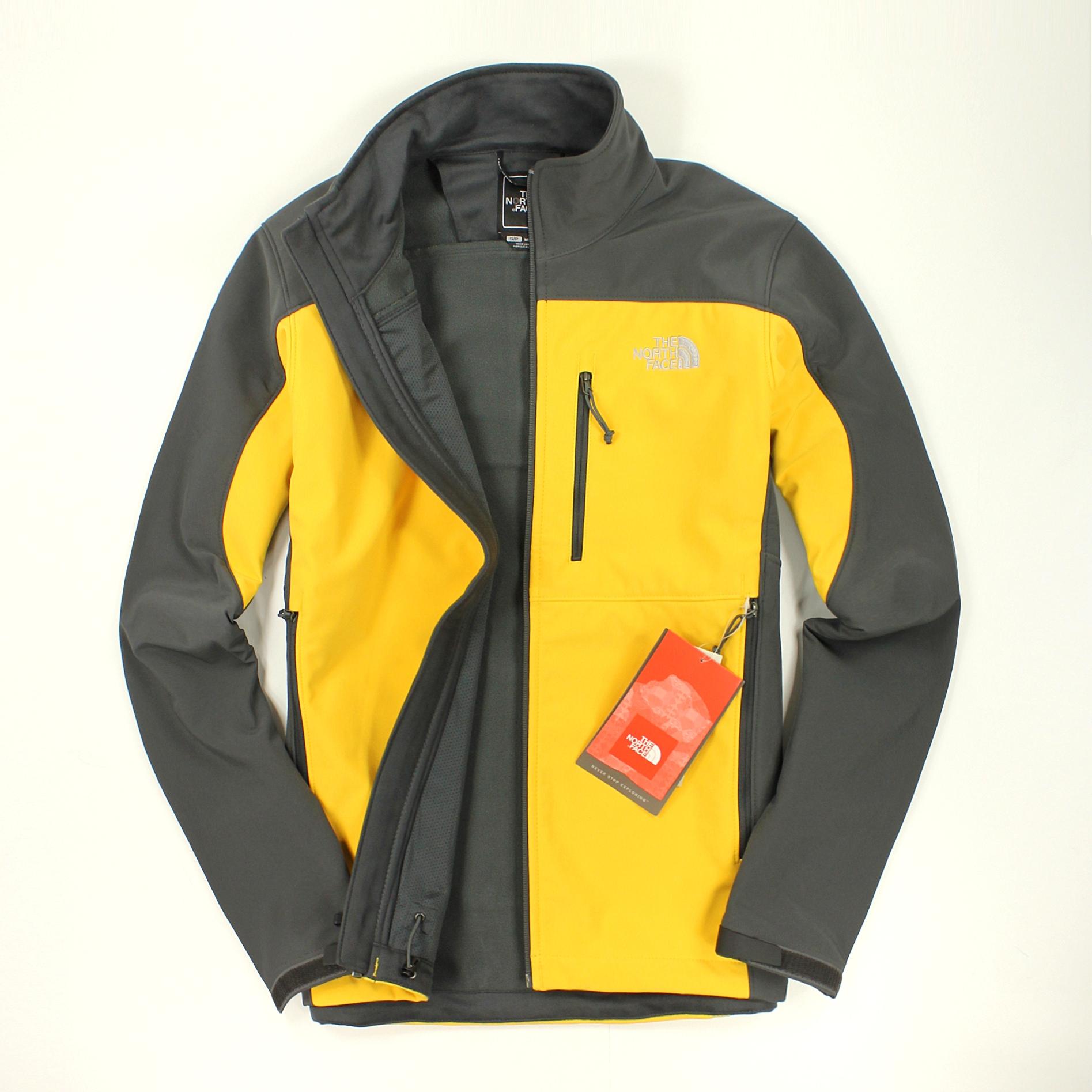 美國百分百【全新真品】The North Face 外套 TNF 軟殼 夾克 防風 防水 保暖 北臉 黃灰 男衣 S M號