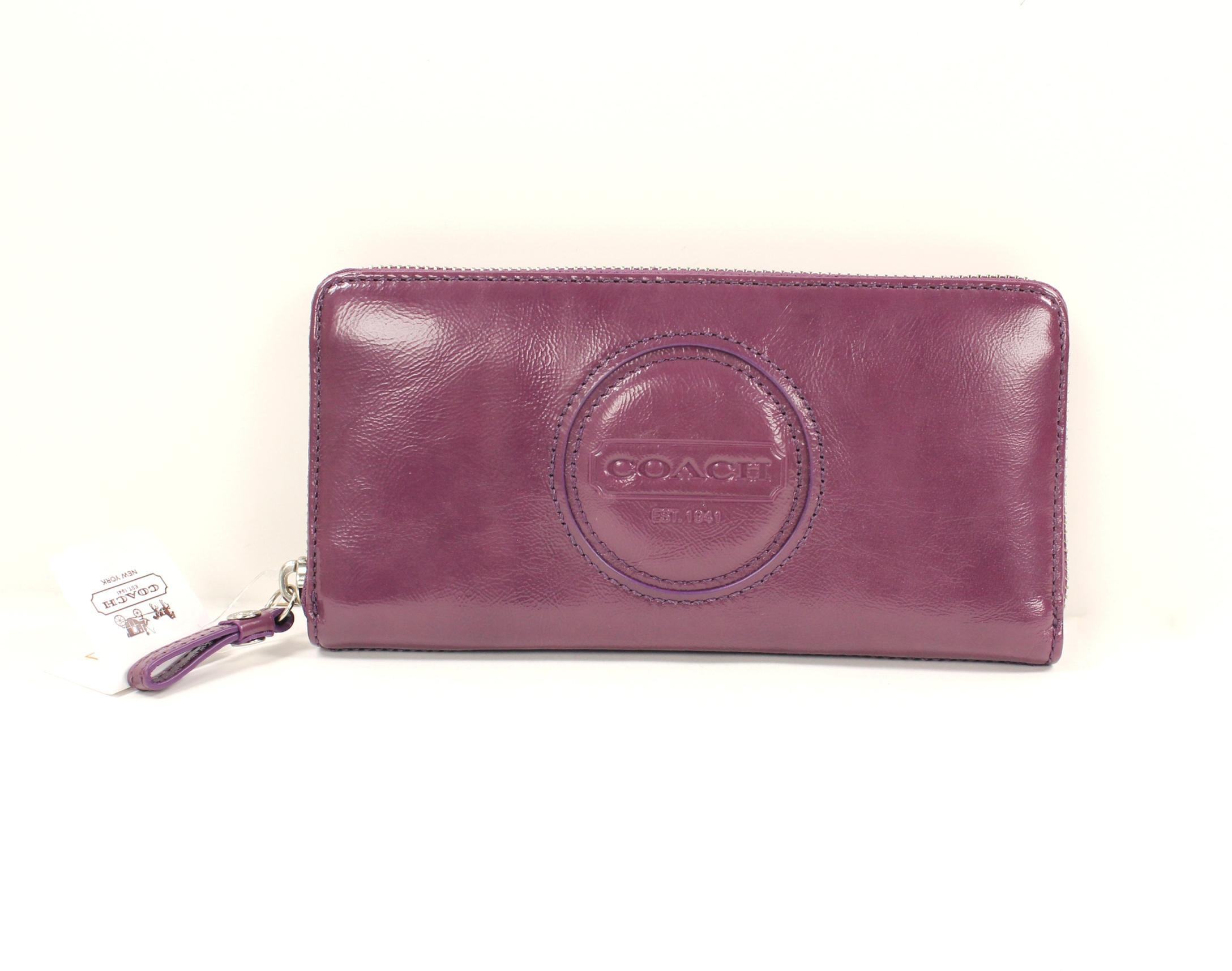 美國百分百【全新真品】Coach 皮夾 49386 長夾 零錢包 中夾 漆皮 紫色 真皮 浮雕 女用 B546