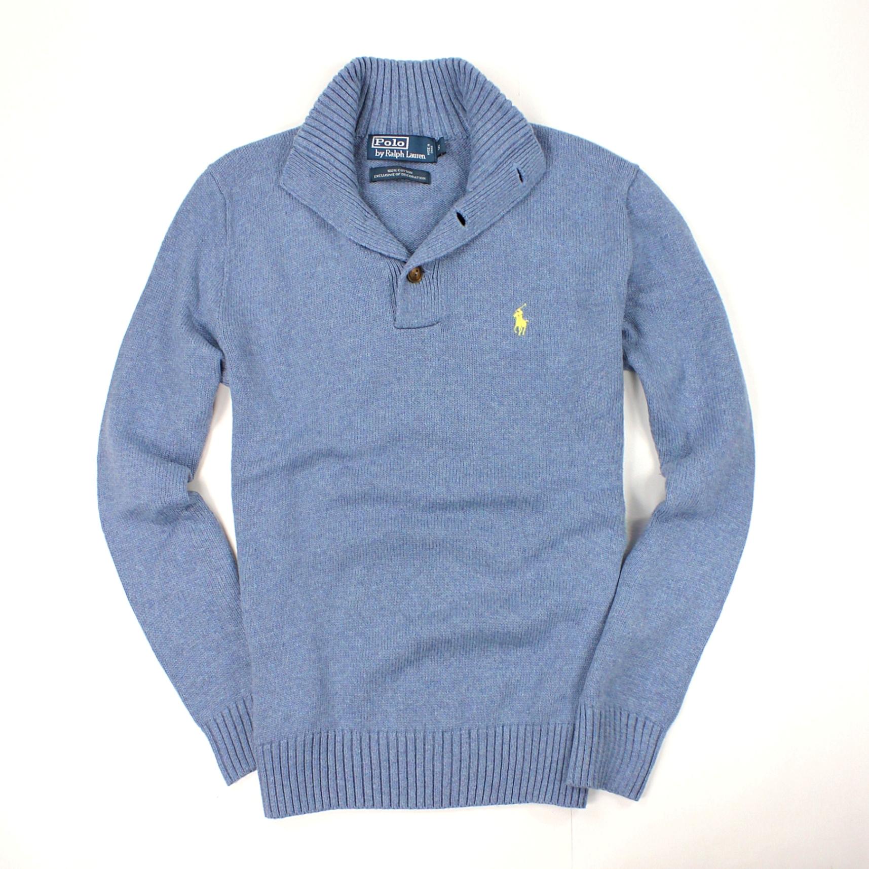 美國百分百【全新真品】Ralph Lauren 針織衫 RL 棉質毛衣 Polo 小馬 藍 立領 厚棉 大尺 男 S M XL A068