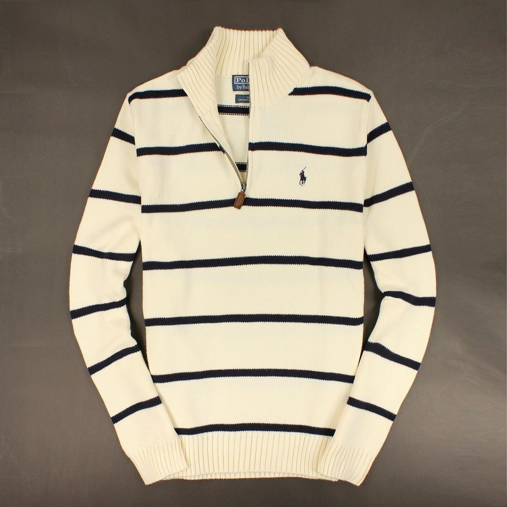 美國百分百【全新真品】Ralph Lauren 針織衫 RL 棉質毛衣 Polo 小馬 米白 條紋 半拉 皮革 男 S號 C002
