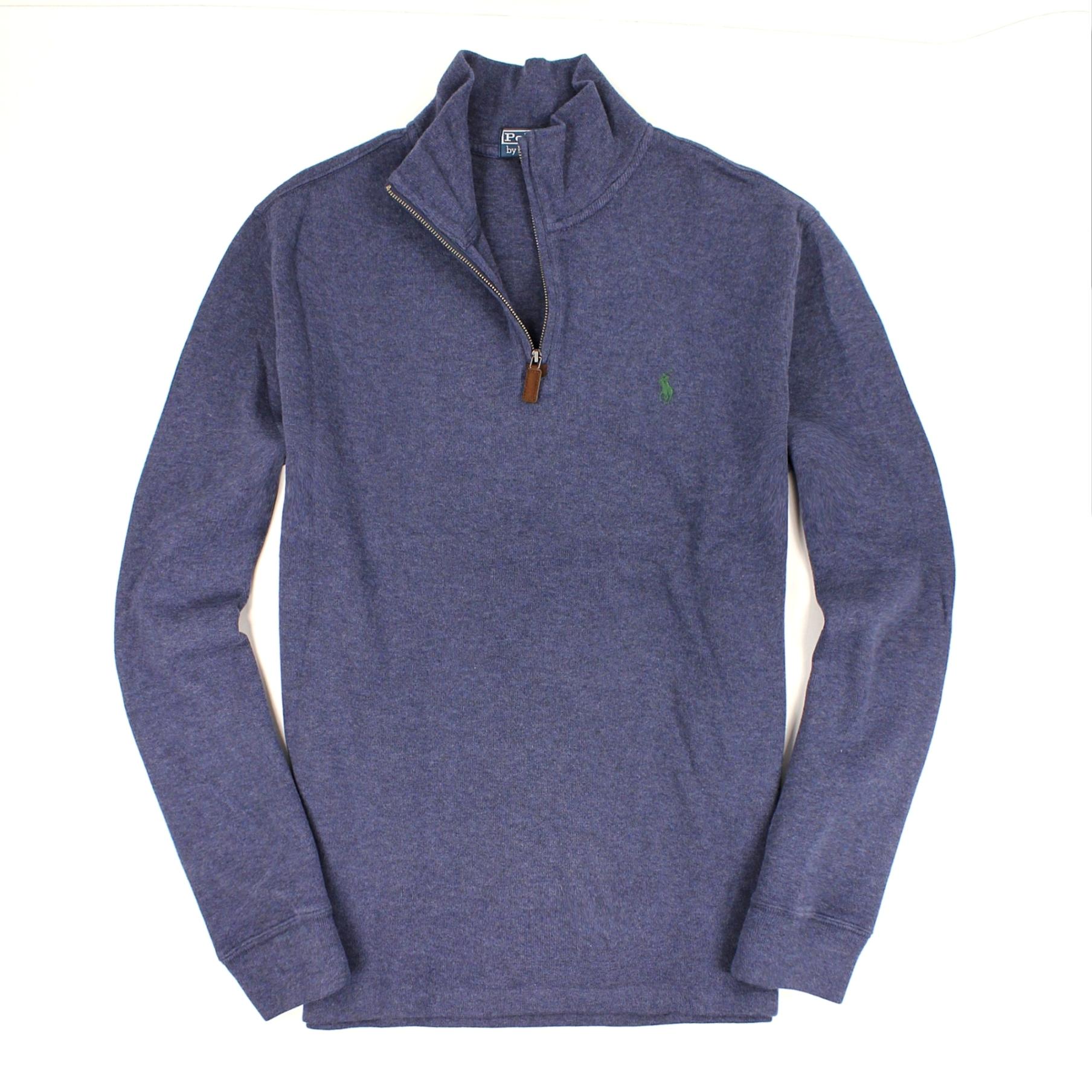 美國百分百【全新真品】Ralph Lauren 針織衫 RL 棉質毛衣 Polo 小馬 復古藍 半拉 大尺 麂皮 男 XL B027
