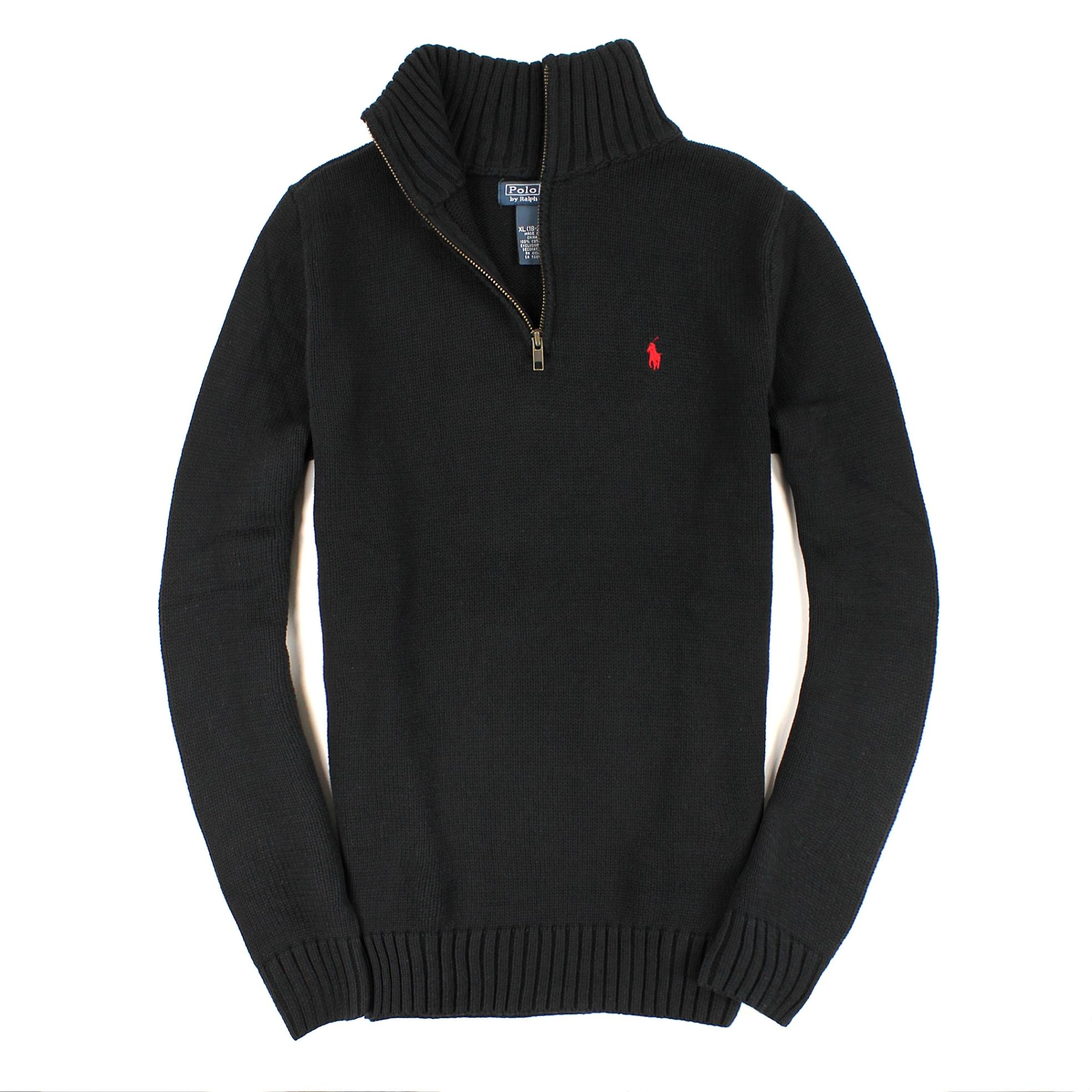 Q美國百分百【全新真品】Ralph Lauren 針織衫 RL 棉質毛衣 Polo 小馬 黑 半拉 厚棉 立領 男 S號 C004