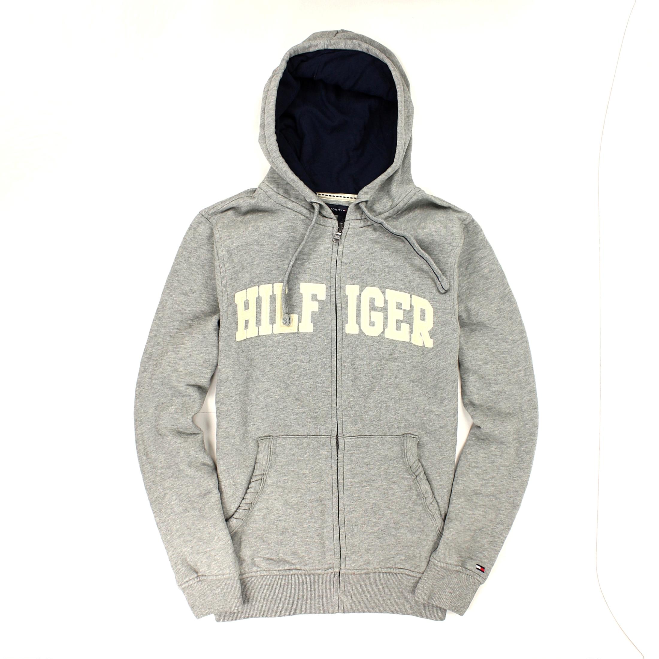 美國百分百【全新真品】Tommy Hilfiger 外套 TH 連帽外套 夾克 長袖 灰 Logo 棉質 保暖 經典 男 S號