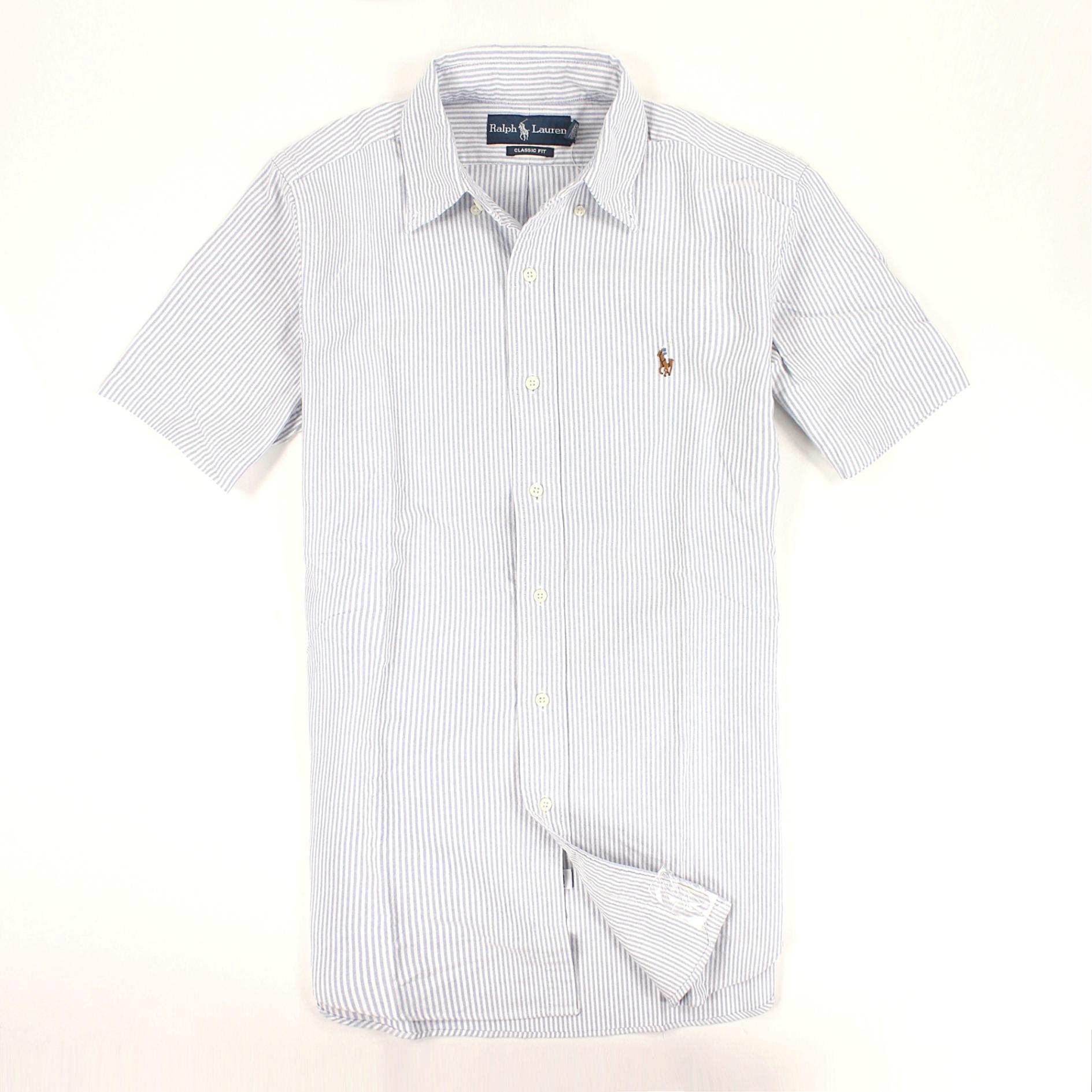 美國百分百【全新真品】Ralph Lauren 襯衫 RL 上衣 長袖 Polo 彩馬 小馬 藍 條紋 大尺 男 S M L XL號