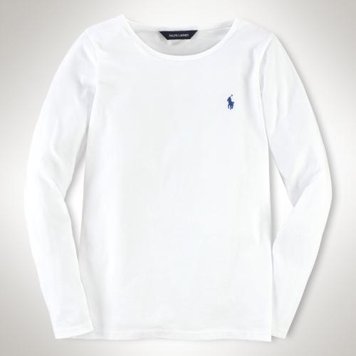 美國百分百【全新真品】Ralph Lauren T恤 RL 長袖 T-shirt 上衣 Polo 小馬 白色 素面 純棉 女 XS S號