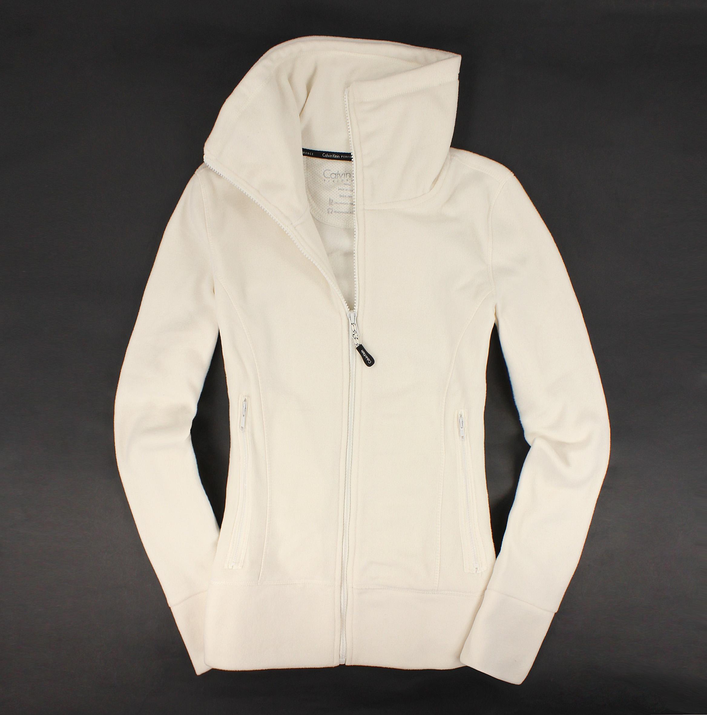 美國百分百【全新真品】Calvin Klein 外套 CK 夾克 刷毛外套 白色 立領 刺繡 輕巧 保暖 Logo 女 S B528