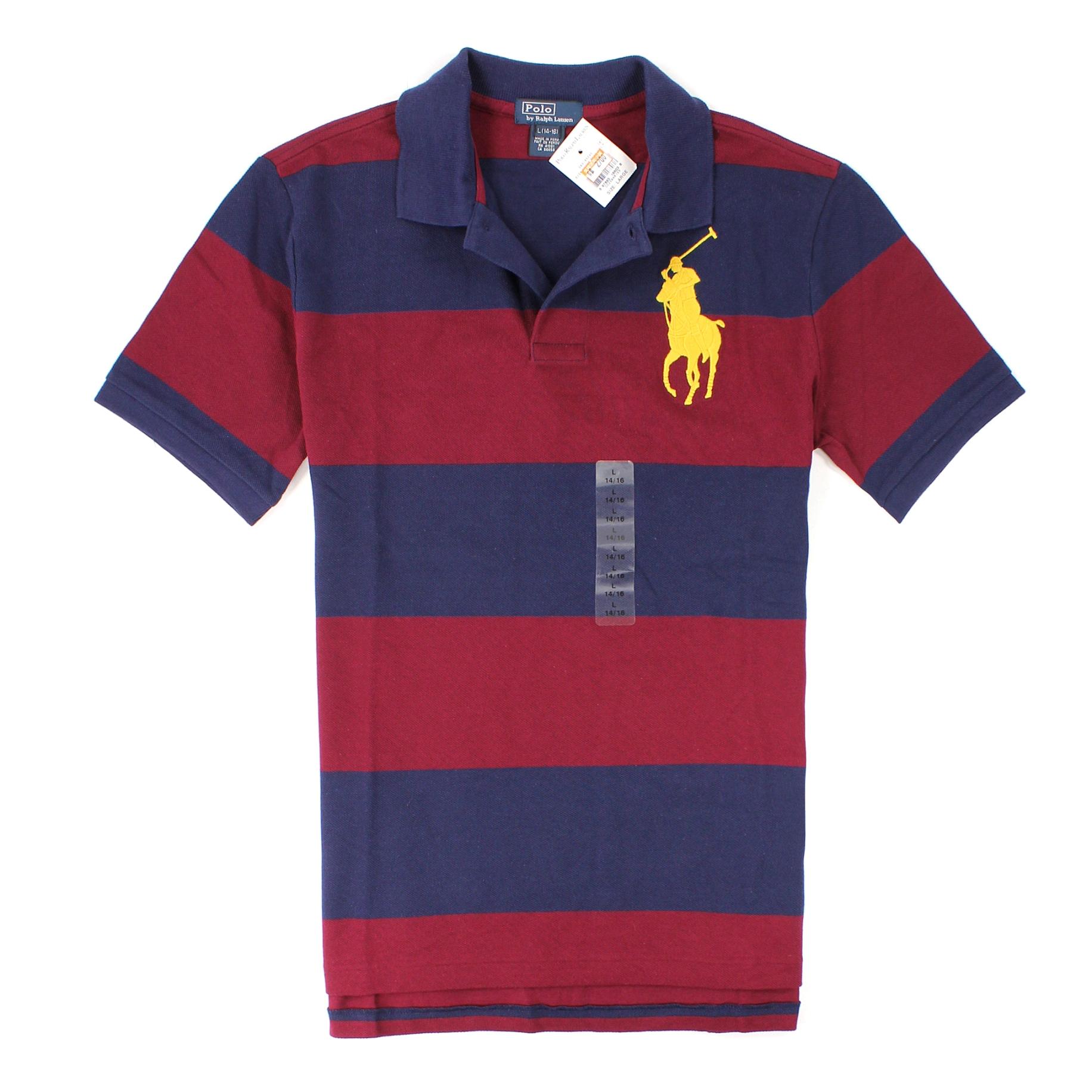 美國百分百【全新真品】Ralph Lauren Polo衫 RL 上衣 短袖 Polo 大馬 藍 紅 條紋 網眼 純棉 男 XS號