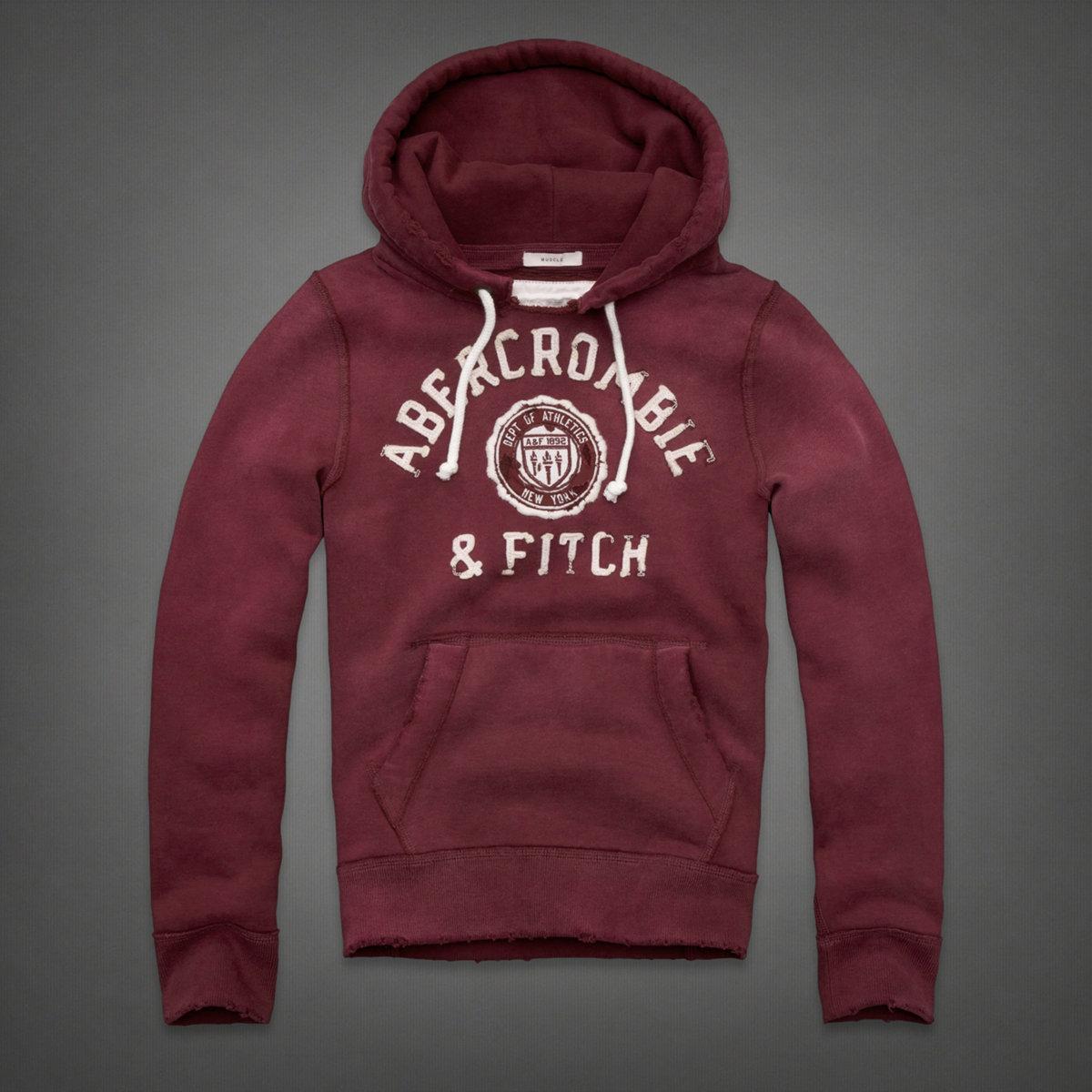 美國百分百【全新真品】Abercrombie & Fitch 帽T AF 連帽T恤 長袖 外套 麋鹿 酒紅 復古 男 S M號 B810