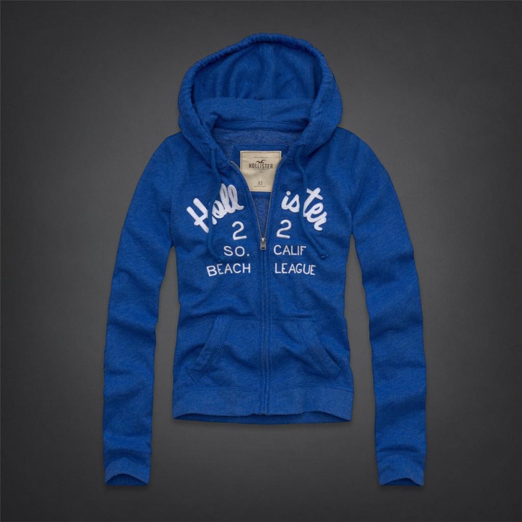 美國百分百【全新真品】Hollister Co. 外套 HCO 連帽外套 夾克 海鷗 寶藍 文字 刺繡 女 L號 B821