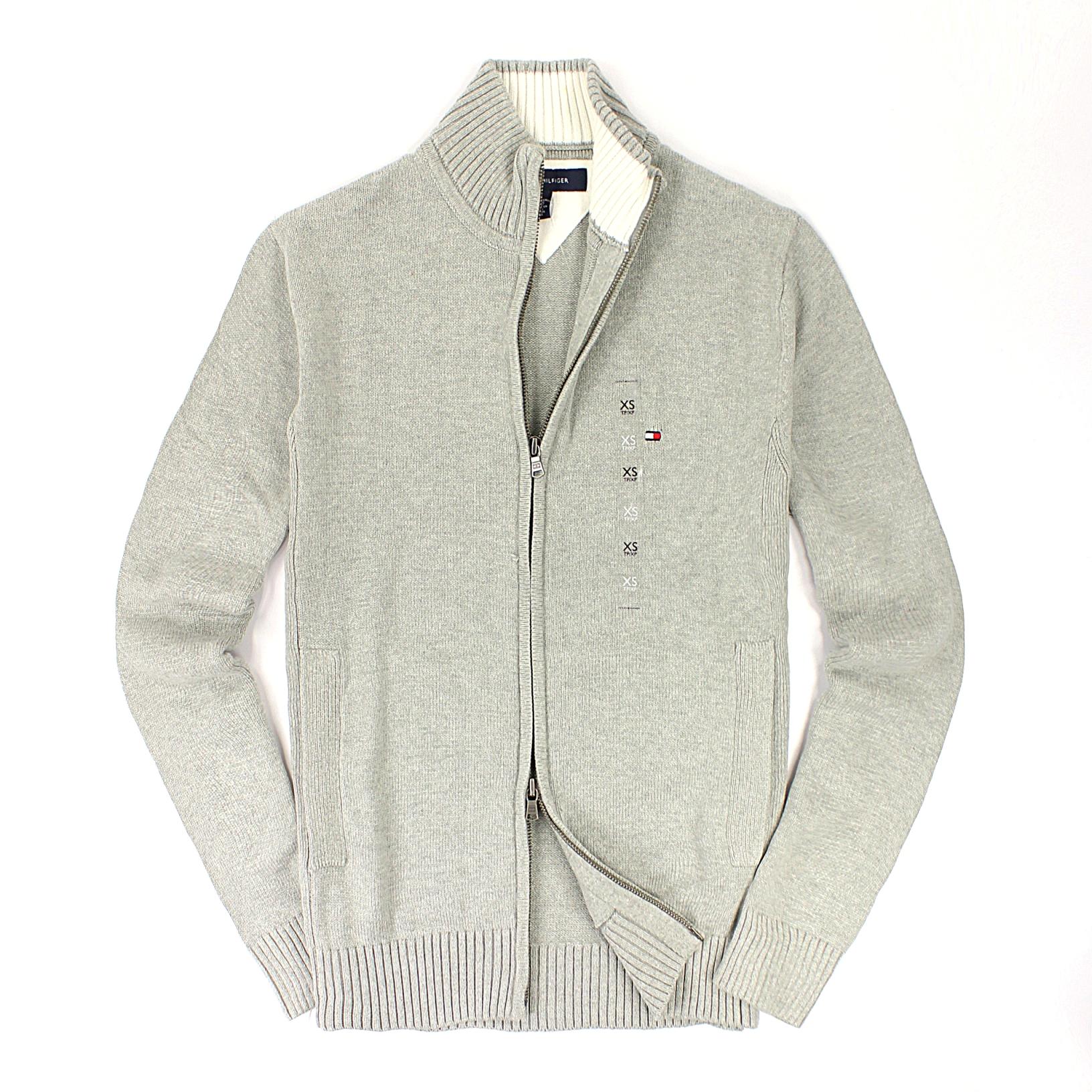 美國百分百【全新真品】Tommy Hilfiger 外套 TH 針織衫 長袖 灰色 素面 雙頭拉鍊 純棉 男 XS S號