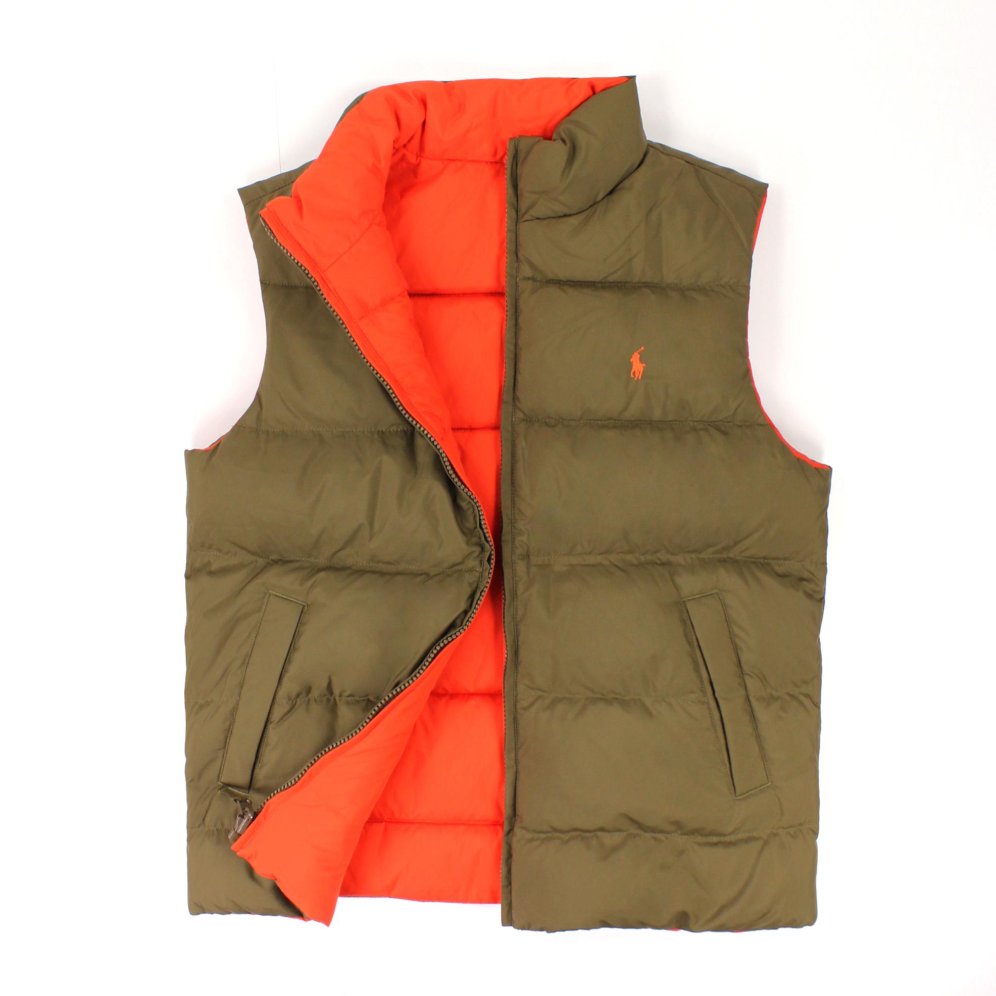 美國百分百【全新真品】Ralph Lauren 背心 RL 羽絨 上衣 外套 Polo 小馬 綠橘 保暖 雙面 男衣 XXS號