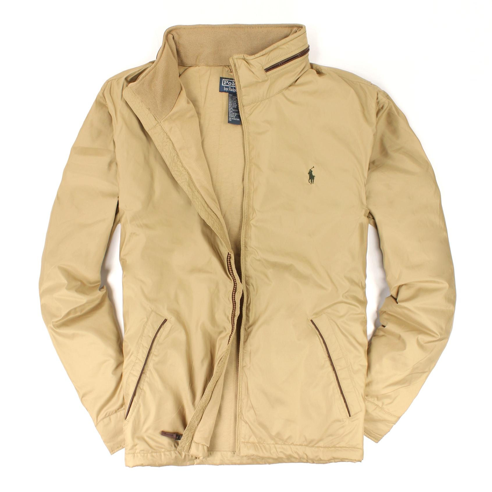 美國百分百【全新真品】Ralph Lauren 外套 RL 連帽 夾克 上衣 Polo 小馬 卡其 皮革 鋪棉 大尺 男 XL B595