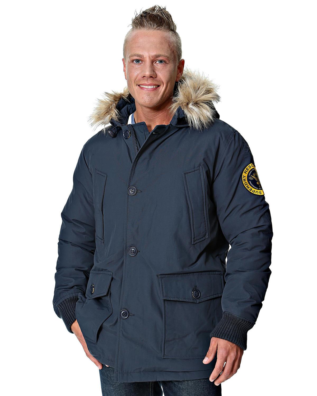 美國百分百【全新真品】Superdry 外套 連帽外套 羽絨 夾克 極度乾燥 毛毛帽 大尺 限量 刺繡 藍灰 男 XL號
