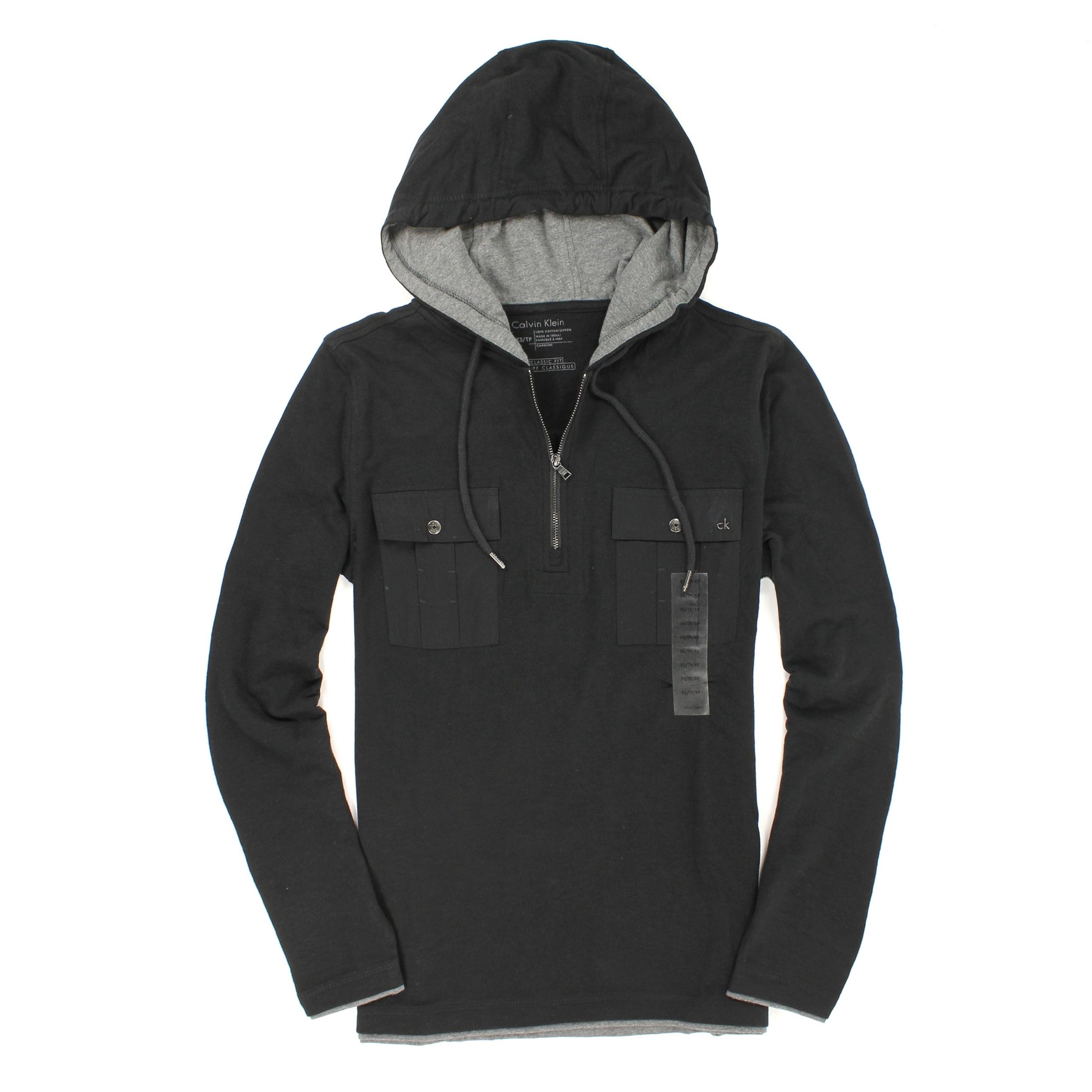 美國百分百【全新真品】Calvin Klein 帽T CK 連帽T恤 外套 長袖 上衣 黑 雙口袋 半拉 純棉 男 XS號