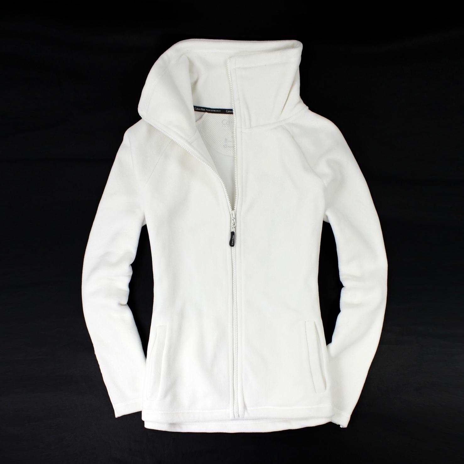 美國百分百【全新真品】Calvin Klein 外套 CK 刷毛外套 夾克 立領 素面 白 Logo MP3 輕巧 女 S號 B529