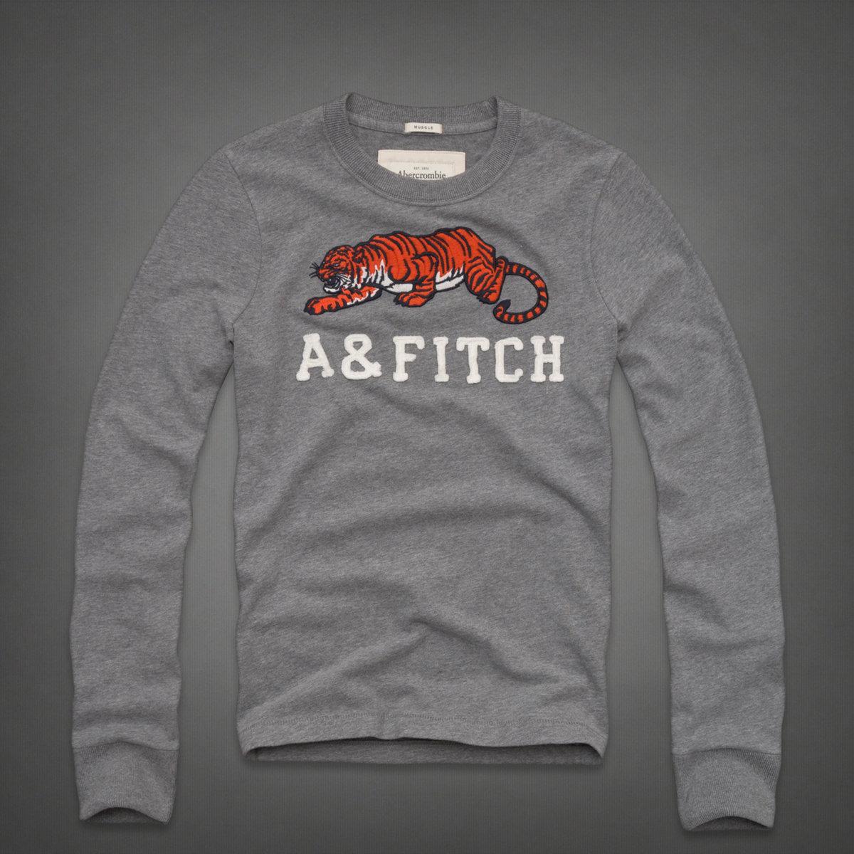 美國百分百【全新真品】Abercrombie & Fitch T恤 AF 長袖 上衣 T-shirt 麋鹿 灰 老虎 動物 男 L B652
