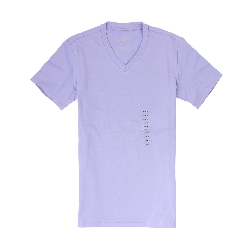 美國百分百【全新真品】Calvin Klein T恤 CK 短袖 上衣 T-shirt 短T 粉紫 素面 V領 棉質 彈性 男 XXS XS