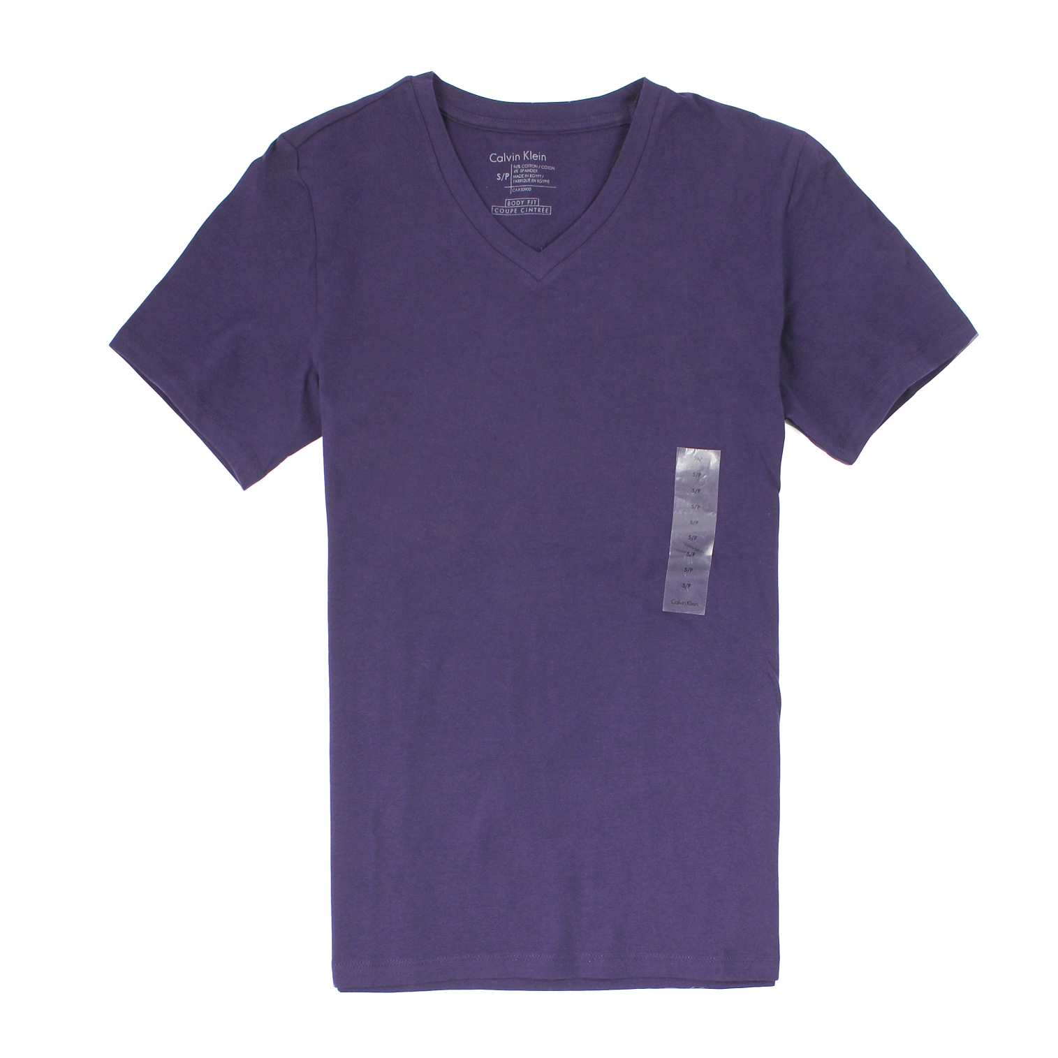 美國百分百【全新真品】Calvin Klein T恤 CK 短袖 上衣 T-shirt 短T 深紫 素面 V領 彈性 大尺 男 XS XL