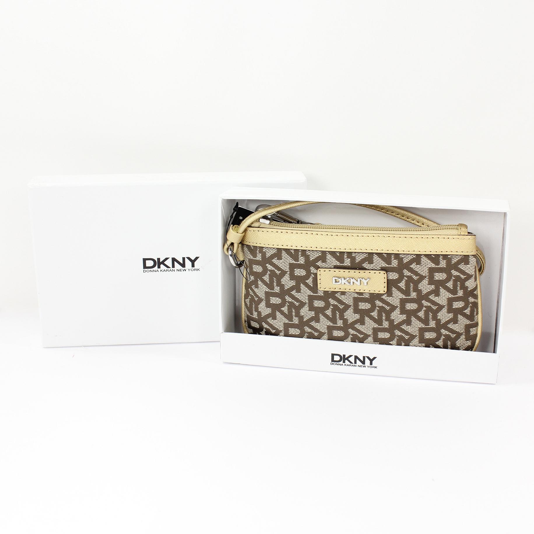 美國百分百【全新真品】DKNY 手拿包 金色 手機包 錢包 皮包 提花布 禮盒 皮革 經典 Logo 女包 A693