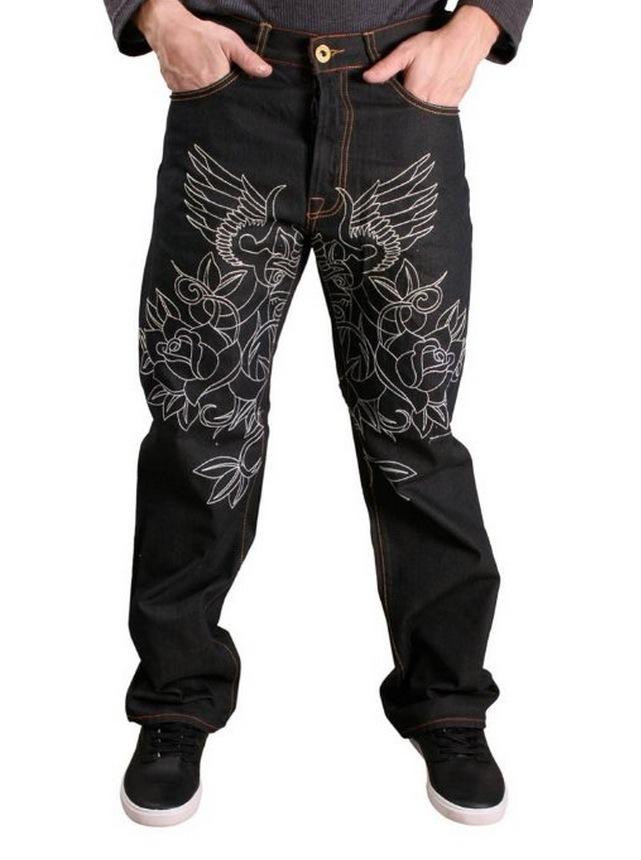 美國百分百【全新真品】Christian Audigier 牛仔褲 ED Hardy 長褲 刺繡 刺青 大尺 男 水鑽 玫瑰 黑 36腰 A772
